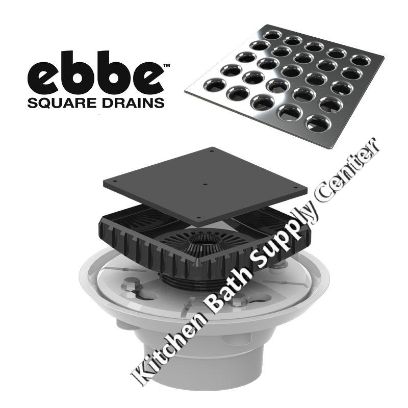 Shower Floor Drain Complete Kit Flange Riser Grate by Ebbe America