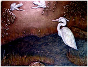 Metallic Tile Heron Dance 18 x 24 and 18 x 6 Inches by Tiles-R-Us