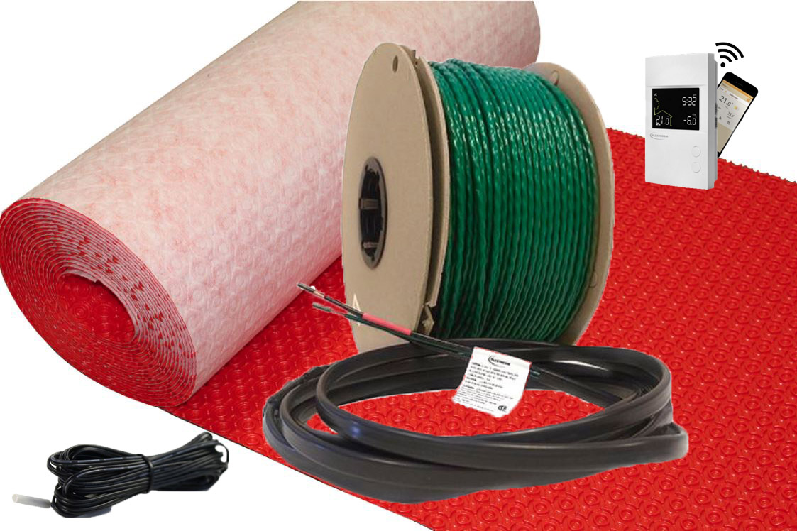 Green Cable Surface XL 240 VAC Radiant Floor Heat System by FlexTherm