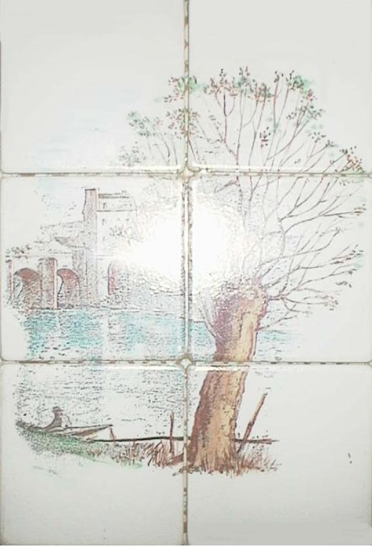 Antique Mosaic Ceramic Tile by Emaux de Briare