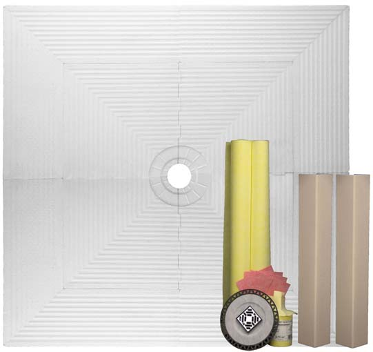 Pro 72 x 72 Shower Systems Tile Kit with Curb Overlays by Pro-Source Center