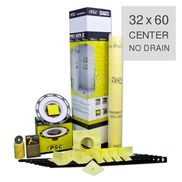 PSC Pro Gen II 32 x 60 Custom Tile Mud Shower Kit - Center NO DRAIN by Pro-Source Center