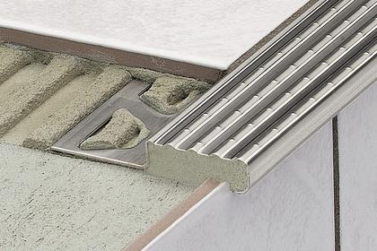 TREP-E Anti-Slip Stainless Steel Stair Nosing Profiles by Schluter Systems